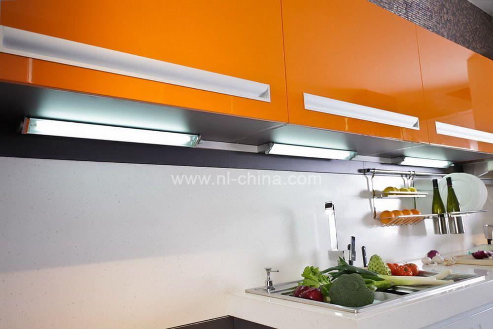 Orange color painting kitchen cabinets (KC 1060)