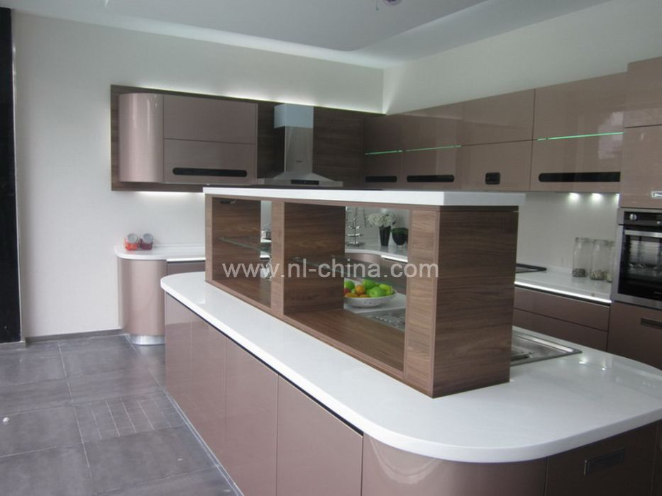 Modern high technology curved kitchen cabinet in gray lacquer(KC 1100)