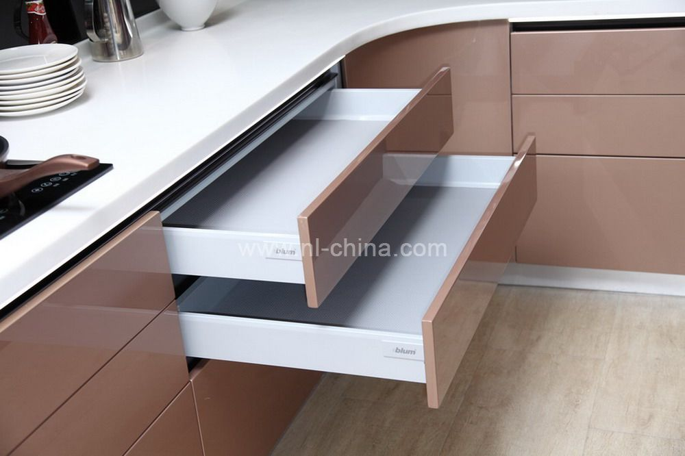 Modern high technology curved kitchen cabinet in gray lacquer(KC-1100)