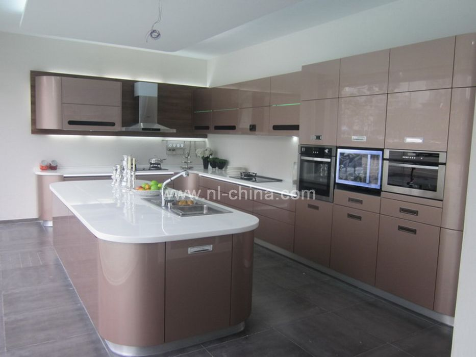 Modern High Technology Curved Kitchen Cabinet In Gray