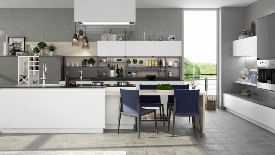Nl Furniture Modern White And Gray Matte Lacquer Kitchen Cabinet N lfurniture
