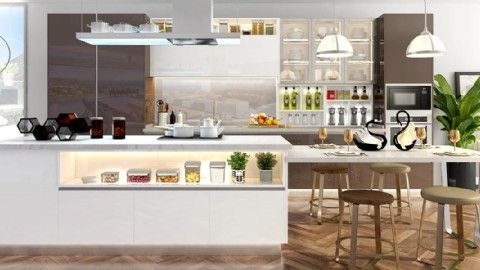 Fashionable Stream-Lined White Lacquer Kitchen Cabinet - N ...